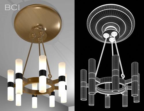 Eight-Lamp Art Deco Chandelier
