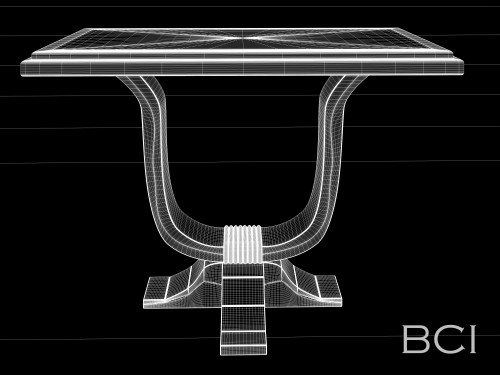 French U-Shaped Table Wireframe Model