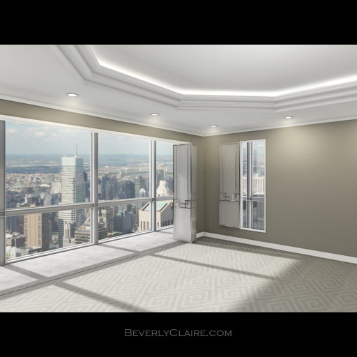 3D model of a room in a high-rise building