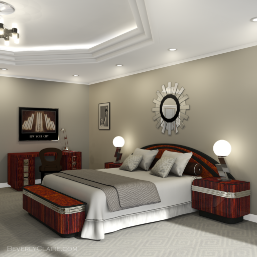 A visualization of the bed in an Art Deco style room.