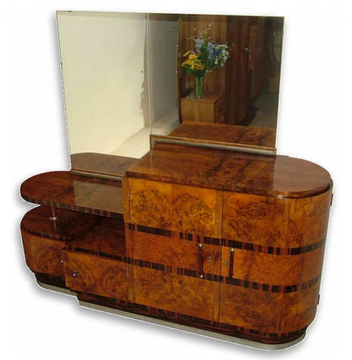 Handsome Italian Art Deco Sideboard With Mirror