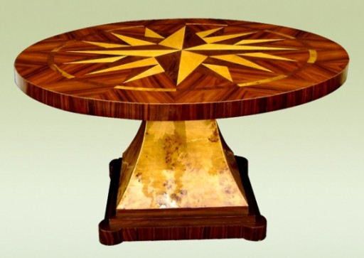 Art Deco pedestal dining table with marquetry