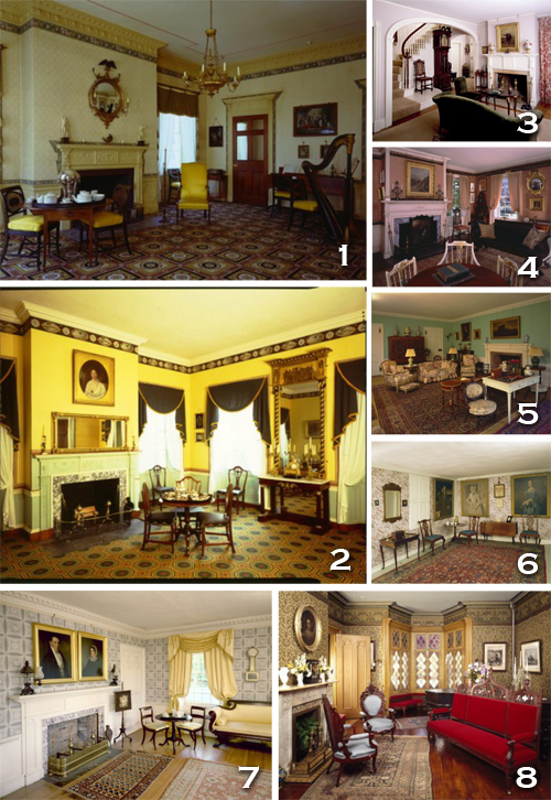 Drawing rooms and parlors in historic New England homes. All photos courtesy of historicnewengland.org