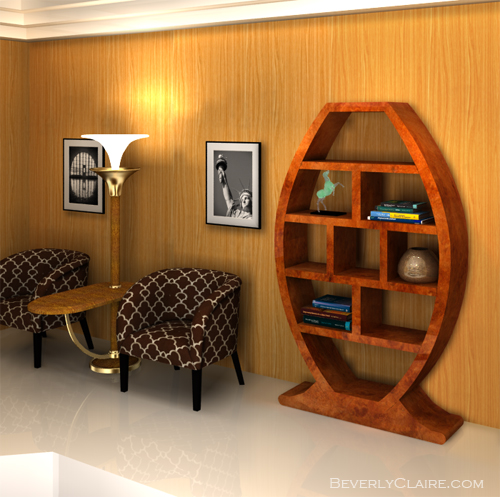 The Art Deco bookshelf in context.