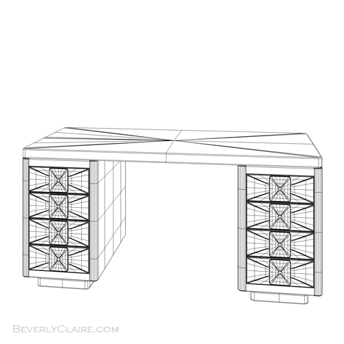 The Art Deco desk, wireframe view.