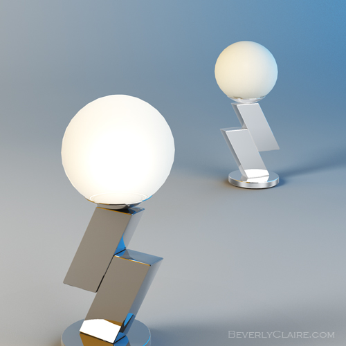 3D model of an Art Deco-style lamp