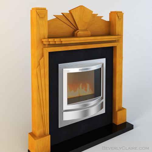 A model of an Art Deco fireplace mantel with contemporary insert.