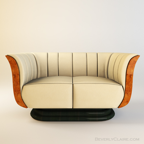 3D Model of Art Deco tulip loveseat