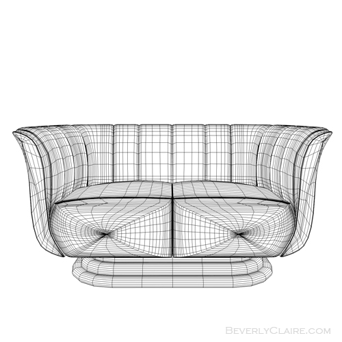 Wireframe view of Art Deco tulip loveseat