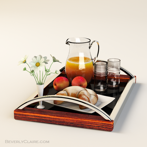 Art Deco tray made of rosewood and chrome, with a black lacquered base.