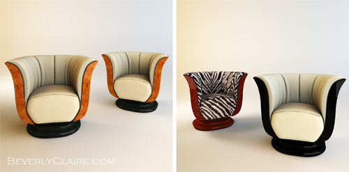 Art Deco tulip chairs, in three types of veneer and upholstery.