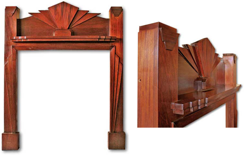 A 1930s mahogany, Art Deco fireplace from c20fireplaces.co.uk