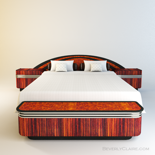 Art Deco bed veneered in East Indian rosewood and burl amboyna.