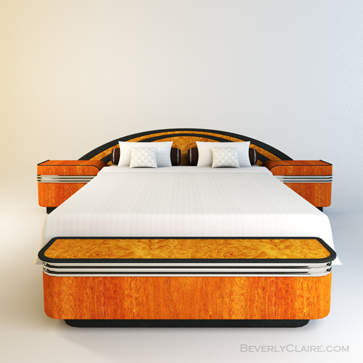 Variation: Art Deco bed veneered in Honduras mahogany and burl maple.