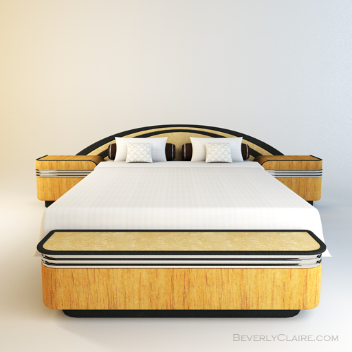Variation: Art Deco bed with Spanish cedar and Bird's Eye Maple veneer.