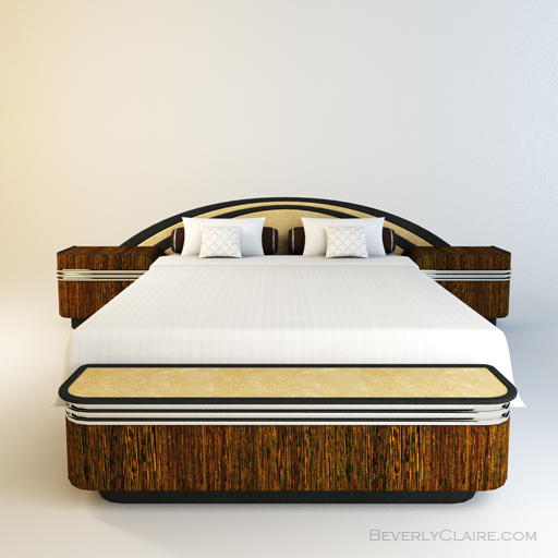 Variation: Art Deco bed with wenge and Bird's Eye maple veneer.
