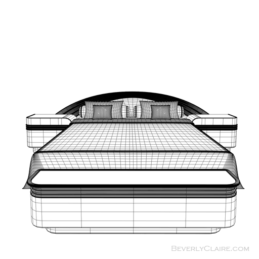 Wireframe view of Art Deco bed.