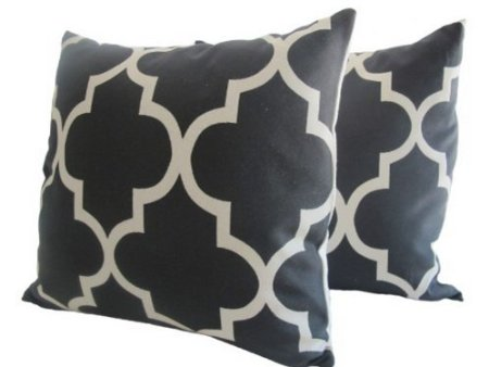 Pair of Decorative Designer Pillow Cover- Black and Creme Trellis Fret Work-20 inch