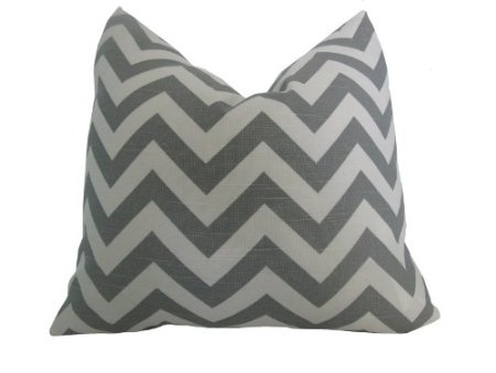 Decorative Designer Pillow Cover-18 inch-Zig Zag Chevron In Ash Grey