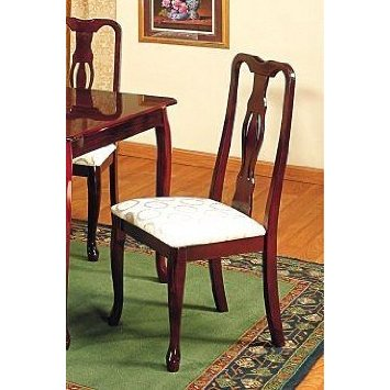American Home Furnishing Set Of 2 Queen Anne Style Cherry Finish Dining Chairs