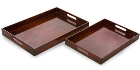 Set of 2 Traditional Wooden Rectangular Serving Trays with Handles 24""