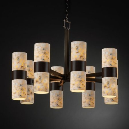 Justice Design Group ALR-8754-10-MBLK Matte Black Chandelier from the Alabaster Rocks! Collection