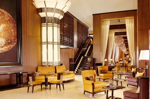 Lobby of the 45 Park Lane Hotel in London. Not a restaurant, but I'm assuming they serve welcome drinks here. It's so well-designed I decided to include it among the inspiring ones. Photo courtesy of cntraveller.com