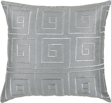 Rizzy Home T-3441 18-Inch by 18-Inch Decorative Pillows, Gray/Silver, Set of 2
