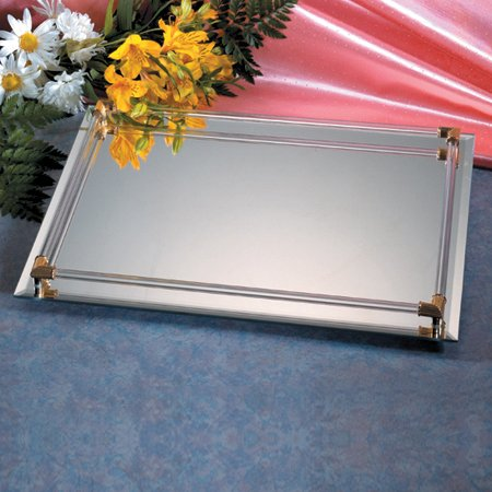 Mirror Vanity Tray with Gold-Plated Accents