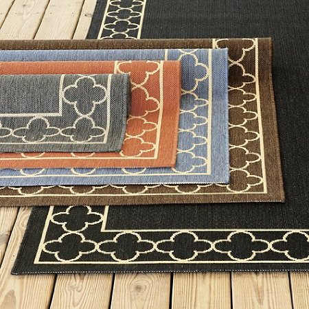 "Suzanne Kasler Quatrefoil Border Indoor/Outdoor Rug Gray 2'7"" x 4'11"""