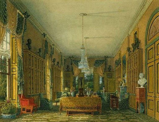Queen's Library, Frogmore House, Windsor, England. Painting by Charles Wild.