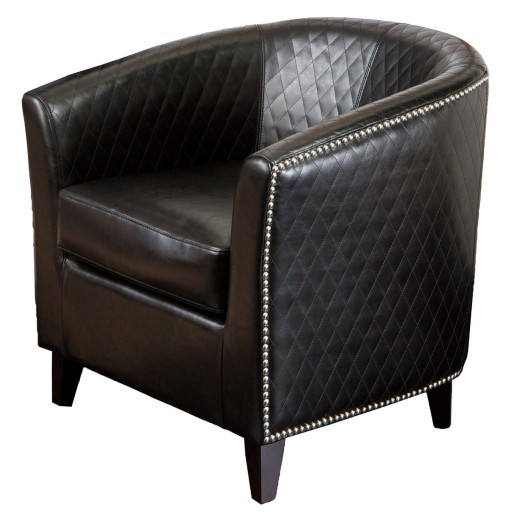BEST Mia Black Leather Quilted Club Chair