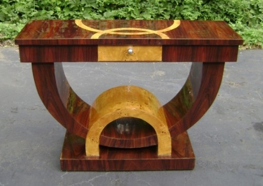 Art Deco style Walnut and Elm Console Table