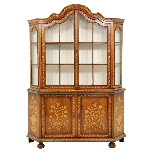 19th Century Dutch Marquetry China Cabinet at Sugar Barrel Antiques