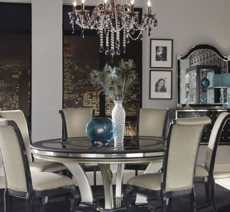 AICO Hollywood Swank Round Dining Table