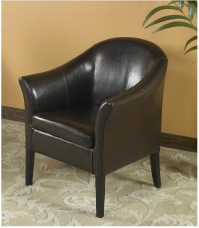 Armen Living Bycast Brown Leather Club Chair
