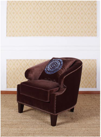 Armen Living Contessa Brown Club Chair with Nailhead Accents