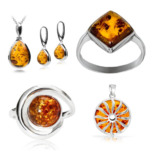 Selected honey amber jewelry