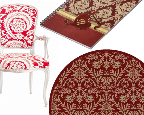 Timeless Damask Designs In Ravishing Red Beverly Claire