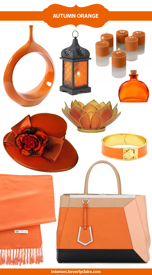 Home and Personal Accessories in Orange, Curated by Beverly Claire Interiors