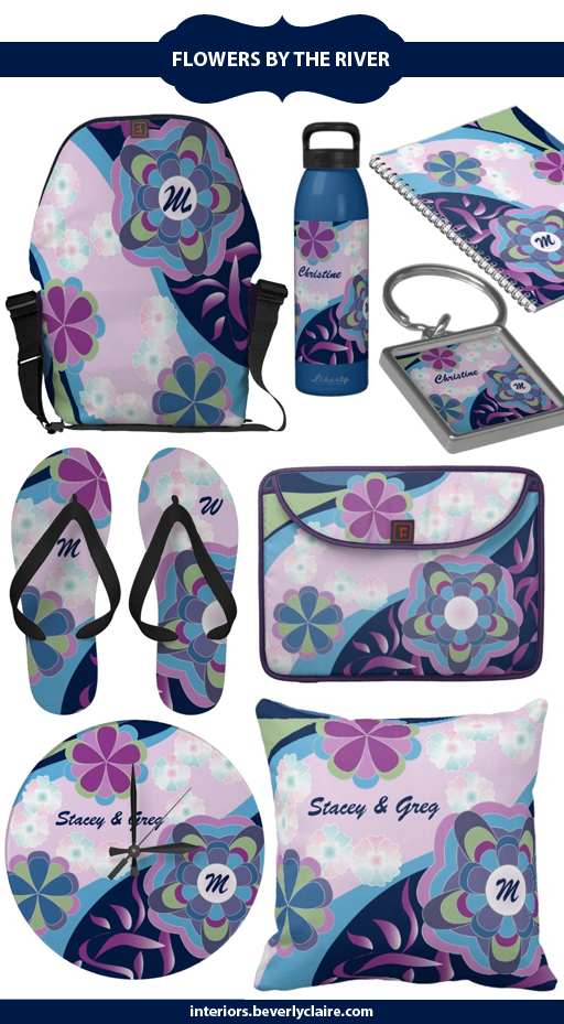 Kimono-Inspired Summer Floral Gifts in Purple and Aqua, by Beverly Claire Designs