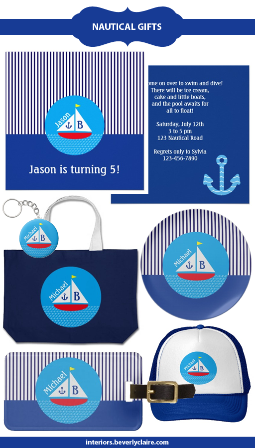 Nautical themed, personalized gifts by Beverly Claire Designs.
