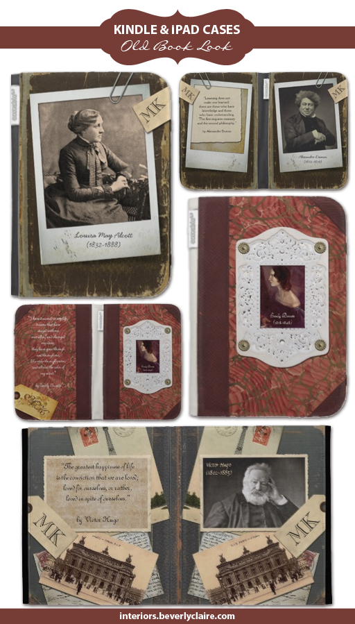 Kindle and iPad cases with an old book look, designed by Beverly Claire Designs