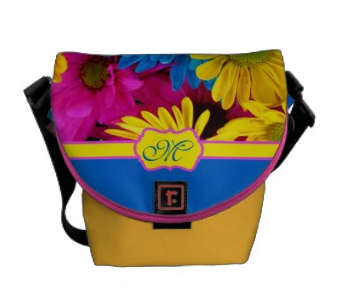 Monogrammed Vivid Cheery Daisies Pink Yellow Blue Courier Bag