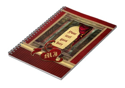 Gorgeous Classic Arch Columns Red Drapes Gold Notebook
