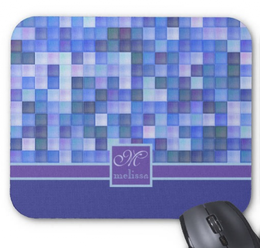Monogram Geometric Square Tiles Blue Violet Teal Mousepad