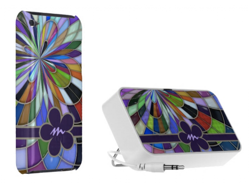 Monogrammed Abstract Geometric Stained Glass Rainbow iPod Case and Doodle Travel Speaker