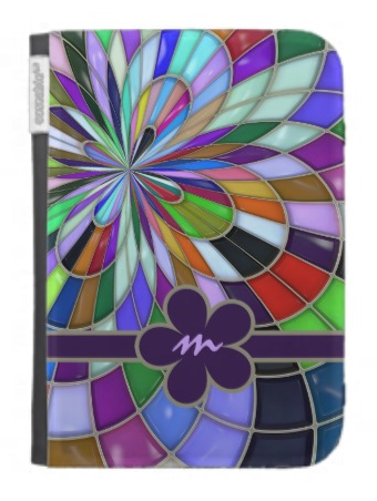 Monogrammed Colorful Abstract Stained Glass Flower Kindle Case