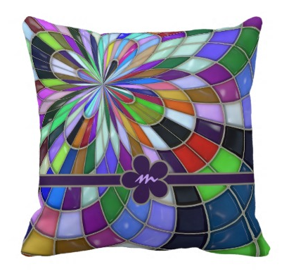 Monogrammed Abstract Geometric Stained Glass Flower Throw Pillow