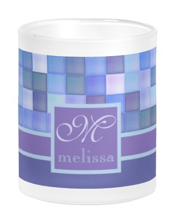 Monogram Geometric Square Tiles Blue Violet Teal Coffee Mug